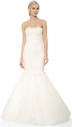 Marchesa Lace Corset Mermaid Gown with Lace Tulle Skirt