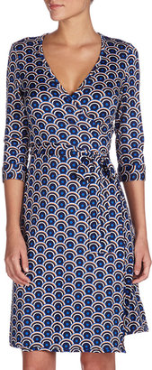 Julie Brown JB by Half-Circle-Print Wrap Dress, Blue Dusk