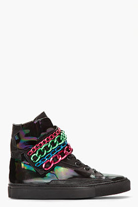 Raf Simons Black Holographic Tricolor Chained Velcro Sneakers