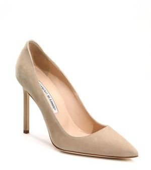 Manolo Blahnik BB 105 Suede Point Toe Pumps $595 thestylecure.com