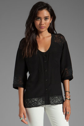 Plenty by Tracy Reese Soft Solids Diagonal Lace Combo Blouse