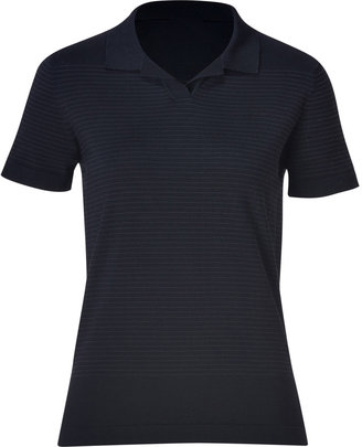 Jil Sander Navy Dark Blue Fine Stripe Silk-Blend Knit Polo