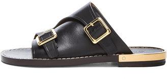 Chloé Slide Leather Sandals in Black