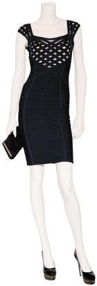 Herve Leger Black Square Neck Bandage Dress