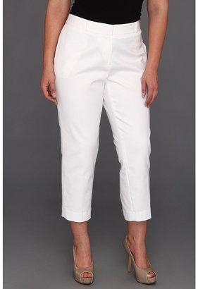 Klein Plus Anne Plus Size Slim Crop Pant (White) - Apparel