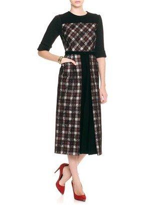 Antonio Marras Tartan Mesh Lace Dress