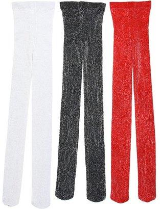 Jefferies Socks Sparkly Tight Three Pack (Toddler/Little Kids/Big Kids) (Black/Red/Silver) - Hosiery