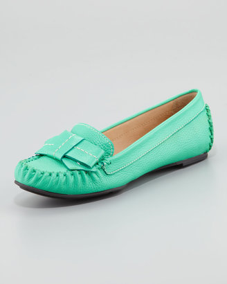 Kate Spade Willie Tumbled Leather Loafer, Emerald Green