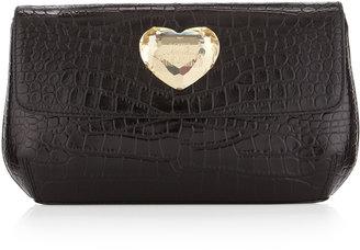 Moschino Croc-Embossed Logo-Heart Clutch Bag, Black