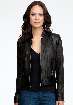 Bebe Leatherette Contrast Moto Jacket