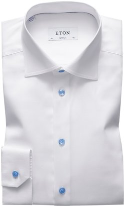 Eton White Twill Shirt - Blue Details - Super Slim Fit