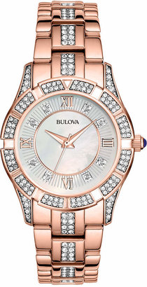 Bulova Women's Crystal Accent Rose Gold-Tone Stainless Steel Bracelet Watch 37mm 98L197 $399 thestylecure.com