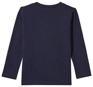 Young Versace Navy Branded Long Sleeve Tee