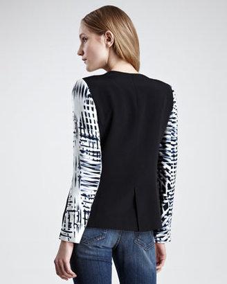 Parker Printed-Sleeve Silk Blazer