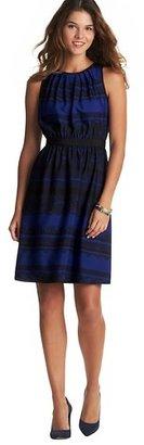 LOFT Tall Lace Print Pleat Neck Sleeveless Dress