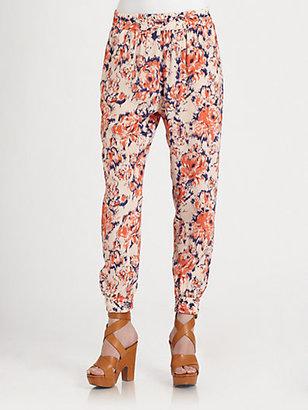 Tucker Floral-Print Silk Pants