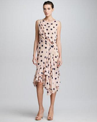 Nina Ricci Side-Ruched Polka Dot Dress, Terracotta/Blue