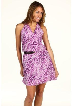 Calvin Klein Jeans Watercolor Ikat Printed A-line Dress (Ultra Violet) - Apparel