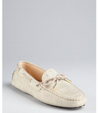 Tod's cream and gold snake embossed suede 'Heaven' loafers