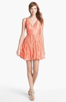 Nicole Miller Metallic Silk Fit & Flare Dress