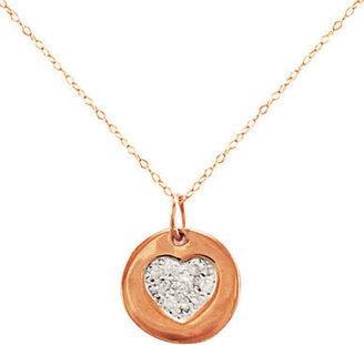 Lord & Taylor 14 Kt. Rose Gold & Diamond Heart Pendant