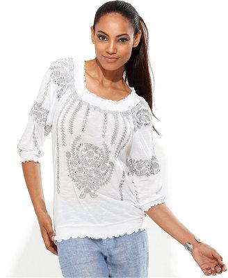 INC International Concepts Petite Top, Three-Quarter-Sleeve Embroidered Peasant