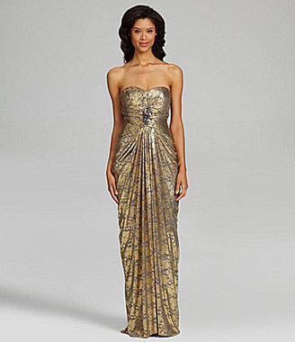 Adrianna Papell Strapless Metallic-Lace Gown