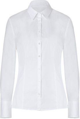 HUGO Optic White Stretch Cotton Etrixe1 Blouse