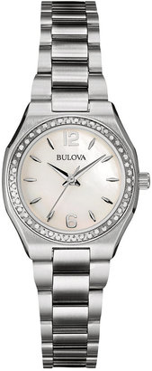 Bulova Women's Diamond Accent Stainless Steel Bracelet Watch 26mm 96R199 $550 thestylecure.com