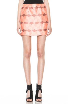 Rodarte Diamond Printed Skirt in Coral & Rose Gold