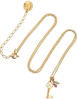 Alex Monroe Baby Key gold-plated multi-stone necklace