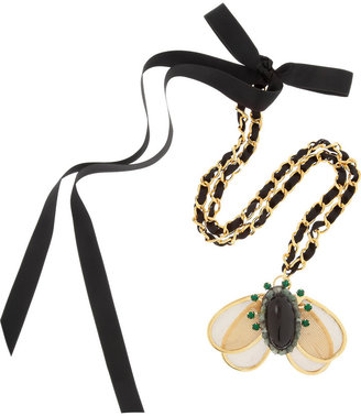 Marni Crystal and resin pendant necklace