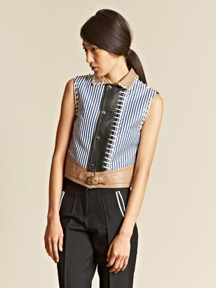 J.W.Anderson Women's Striped Shirting Leather Gilet