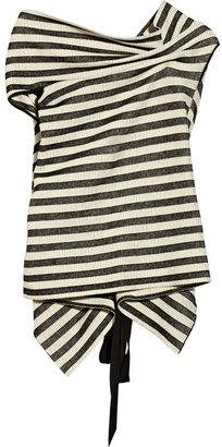 Roland Mouret Alston striped ribbed-knit cotton-blend top