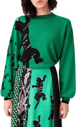Diane von Furstenberg Dexa Jaguar-Print Rib Knit Merino Wool Sweater