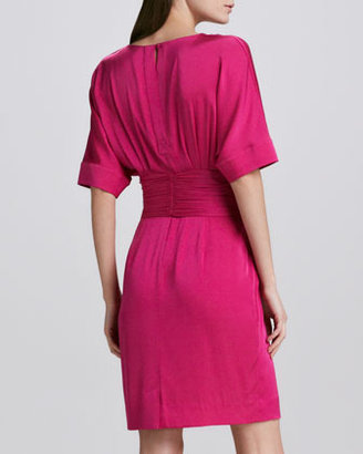 Catherine Malandrino Eleanor Belted Stretch-Silk Dress