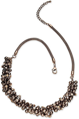 Charter Club Necklace, Gold-Tone Dark Glass Pearl Cluster Necklace