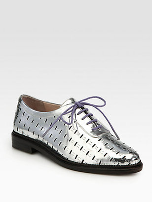 Opening Ceremony Nikki Perforated Mirror Leather Lace-Up Oxfords