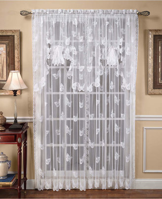 """Saturday Knight Sheer Butterflies Lace 56"""" x 38"""" Swag Valance"""