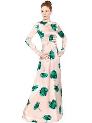 Nina Ricci Floral Printed Silk Satin Long Dress