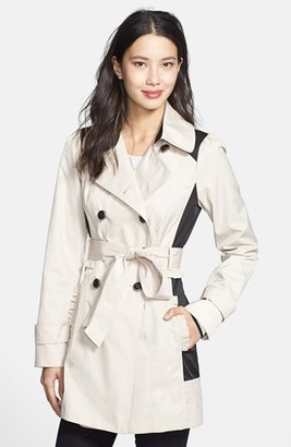 Jessica Simpson Ruffle Detail Colorblock Trench Coat