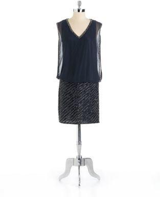 J Kara Beaded V Neck Blouson Dress
