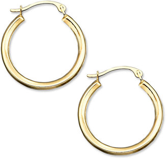 10k Gold Small Polished Round Hoop Earrings