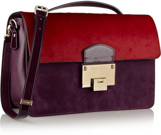 Jimmy Choo Romy large calf hair, suede and leather shoulder bag