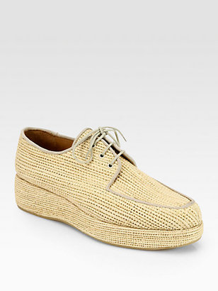 Carven Clergerie Woven Raffia Wedge Oxfords
