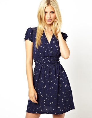 Lovestruck Wrap Dress In Bird Print