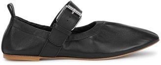 Plan C Black Leather Flats
