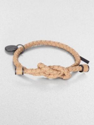Bottega Veneta Intrecciato Knotted Leather Bracelet