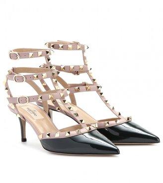 Valentino Rockstud patent leather kitten heel pumps