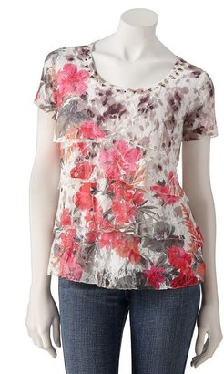 Sag Harbor floral lace sublimation top - petite